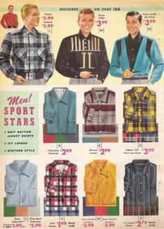 "1957 Button Down Sport shirts Most shirt collars buttoned up to the neck just like dress shirts. Some styles were made ""sporty"" with double large pockets and more casual materials."