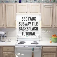 budget friendly, painted brick backsplash at | fake brick