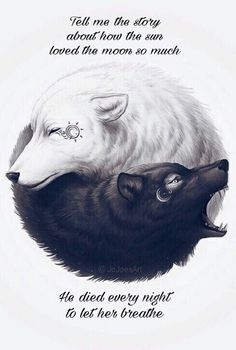 This is the best Yin-Yang! on We Heart It Wolf Tattoos, Animal Tattoos, Body Art Tattoos, Tatoos, Lion Tattoo, Artwork Lobo, Wolf Artwork, Wolf Wallpaper, Dark Wallpaper