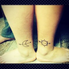 moon and sun matching tattoos - Google Search