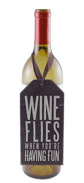 wine flies wine bottle tag