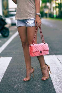 Chanel Neon Pink Velvet Handbag by Johanna Olsson Pink Handbags, Chanel Handbags, Leather Handbags, Pink Chanel Bag, Chanel Bags, Coco Chanel, Casual Summer Outfits, Preppy Outfits, Pink Velvet