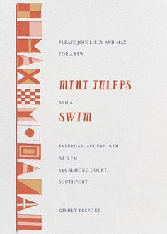 Prepare to Jibe by Mr. Boddington's Studio for Paperless Post. Get ready for summer with beach party and pool party invitations, available online and on paper. Track RSVPs and share photos with easy-to-use tools. See more at paperlesspost.com.