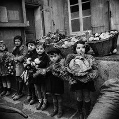 Germaine Chaumel. French children receiving rations in WW2.