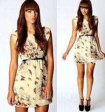 Đầm voan nữ cổ tròn, họa tiết cánh bướm lãng mạn, phong cách Âu Mỹ