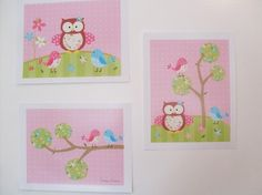 3 Owl and Bird Prints for child or baby room - BRIGHT colors