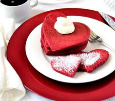 Red velvet pancakes for an indulgent V-Day breakfast. So cute!