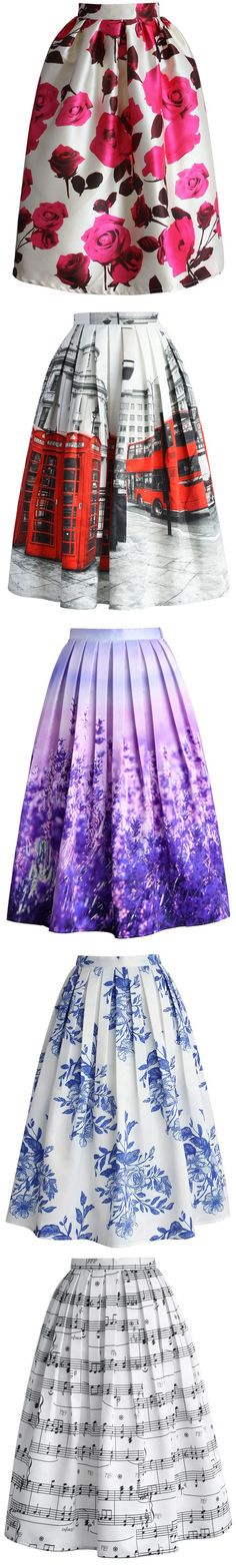 floral skirt, scenic print midi skirt collection: