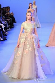 2014 Elie Saab Spring Gorgeous Sequins Appliques Prom Dress Ball Gown Bateau Neckline Short Sleeves Floor Length With Sash Evening Gown Dylan Prom Dresses Exclusive Prom Dresses From Dresstop, $187.48  Dhgate.Com