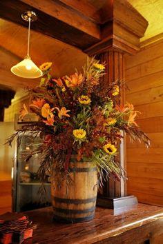 déco rustique avec fleurs d'automne
