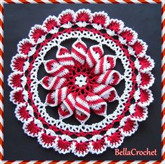 While I was working on my Pretty Pinwheel Doily last spring,I couldn't stop thinking how pretty the pinwheel would be made in red and whit...