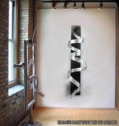 $275 Abstract Metal Wall Art Sculpture / Black Knight Silver Twist by Jon Allen