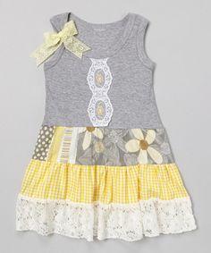 Gray & Yellow Daisy Tank Dress - Toddler & Girls #zulilyfinds