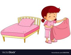 Little girl making bed vector image on VectorStock Floral Bedding, Blue Bedding, Dorm Bedding, Bedding Sets, Islamic Cartoon, Picture Composition, Islam For Kids, Family Support, Toddler Activities
