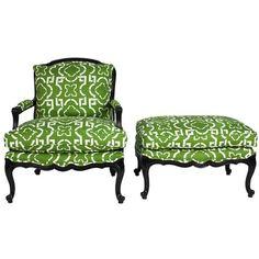 Kelly Green Trellis Chair & Ottoman