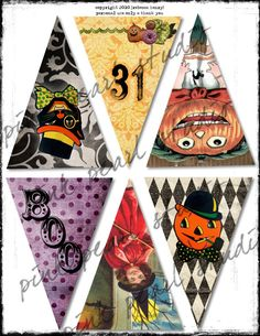 Vintage halloween banners. I think I have most of these images....will work on this one for sure!