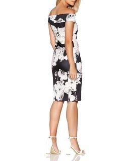 d398f012442 Womens  Quiz Black Bardot Scuba Bodycon Dress- Black