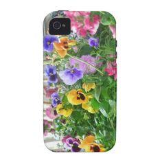 Panoramic Pansies iPhone 4 case #zazzle #electronics #iphone4 #phone #cases #pansies #flowers
