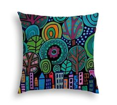 Central Park NYC Lovers Gift New York Cityscape City Skyline Folk Art throw Pillow by Heather Galler - 5 Sizes to choose from