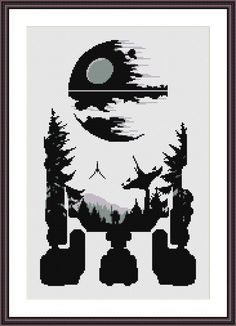 Star Wars Cross Stitch PDF pattern R2D2 - Death Star - Silhouette On 14-count aida the design measures 8.6*13.6 inches. 121w X 191h Stitches. Sizes will change with count size. Design used 4 DMC thread colors. This pattern is in PDF format and consists of a floss list, and a color symbol chart. If you have any questions about this pattern, please ask me. I will contact you with any further instructions when order is received. After the payment successfully processes, the buyer will receiv...
