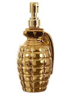 Germicidal Maniac Hand Grenade Soap Dispenser by One Hundred 80 Degrees, Home Decor, Gold Gothic Home Decor, Retro Home Decor, Gold Bathroom Accessories, Home Accessories, Decor Interior Design, Interior Decorating, Gold Everything, Gothic House, Cool Inventions