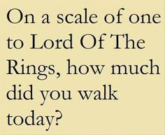 Oh a scale of one to Lord of the Rings, how much did you walk today?