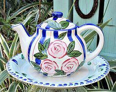 Pink Roses Teapot Garden Whimsy Stake / Garden Sculpture / Garden Art