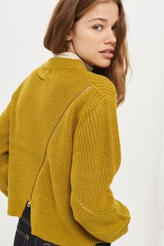 Add some detail to your knit collection with this chartreuse jumper featuring a zip back. Team with cropped jeans and ankle boots for a chic casual look.