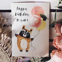 Watercolor Postcard, Birthday Cards, Happy Birthday, Hand Drawn Cards, Art Pictures, Art Sketches, Diy Gifts, Origami, Greeting Cards
