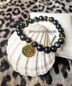 Crystal Beads, Crystals, Black Jewelry, Gold Accents, Stretch Bracelets, Gemstone Jewelry, Lotus, My Etsy Shop