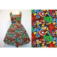 Dress Made From Marvel Avengers Fabric Read Full Listing Handmade to... ($133) ❤ liked on Polyvore featuring dresses, black, women's clothing, christmas dresses, plus size long cocktail dresses, plus size black dress, plus size christmas dresses and short sleeve black dress