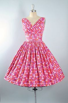 Vintage 50s Dress / 1950s Sue Leslie Sundress POLKA DOT Prints Full Circle Swing…