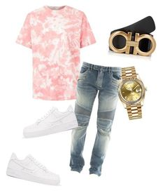 A menswear look from November 2017 featuring mens pink shirts, balmain men's jeans and rolex mens watches. Browse and shop related looks. Summer Swag Outfits, Dope Outfits For Guys, Swag Outfits Men, Boy Outfits, Cute Outfits, Fashion Outfits, Fresh Outfits, Teen Boy Fashion, Tomboy Fashion
