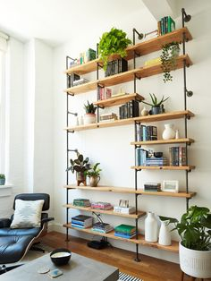 A wall is like a salad. It's better when dressed. (I should probably not be allowed to create captions. Design by 📷: Track Shelving, Office Shelving, Desk Shelves, Diy Pipe Shelves, Industrial Pipe Shelves, Industrial Lamps, Build In Shelves, Industrial Furniture, Wall Shelves For Books
