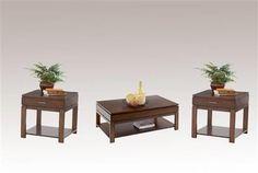 Miramar Contemporary Cherry Birch Wood 3pc Coffee Table Set