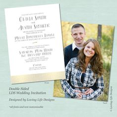 lds wedding invitation gold foil dots lds wedding invite double sided wedding invitation