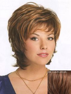 $30.62 Layered Human Hair Fluffy Trendy Inclined Bang Natural Wavy Short Capless Women's Wig #30 AUBURN BROWN
