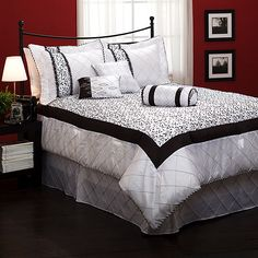 Great black and white bedding for a Paris themed room. @Cathleen Lovell