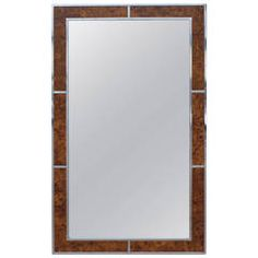 Stunning Milo Baughman Burl and Chrome Mirror
