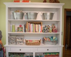 Books threads fabric and other stuff storage hutch