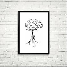 Tree Rooting from a Human Brain, Printable Art, Modern Art, Minimalist Decor, Black and White *39*