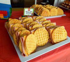 Lego Party Food: Lego My Eggo Sandwiches