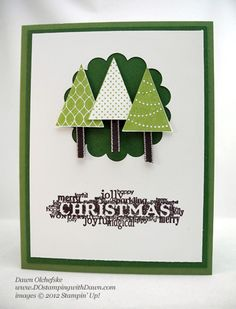Easy Pennant Trees Card by dostamping - Cards and Paper Crafts at Splitcoaststampers