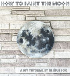 DIY Round Moon Painting - Step by step on How to Paint the Moon for nursery decor and space themed rooms. How to paint a full moon. MichaelsMakers Lil Blue Boo