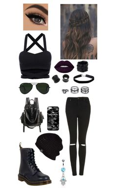 """""""Black out"""" by jesily-murphy ❤ liked on Polyvore featuring Topshop, Dr. Martens, Ray-Ban, Miss Selfridge, NOVICA, Saachi, LULUS, Mr. Gugu & Miss Go, UGG Australia and Lime Crime"""