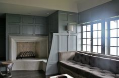 Wall Paneling    (ruard veltman - residential interior) Love the paneling, wall of windows, and banquet seating.