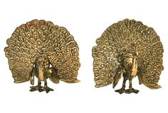 Brass Peacock Bookends