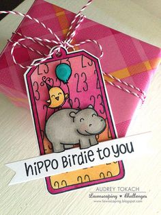 Lawn Fawn - Year Four, Winter Gifts, Milo's ABCs, Tag You're It, Orchid Lawn Trimmings _ Hippo Birdie Tag by Audrey at Pink Ink Originals