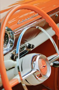 Classic Car Photograph - 1954 Chevrolet Belair Steering Wheel 2 by Jill Reger