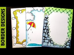 Rain Border designs on paper for project work by margin designs border designs margin designs for projects easy designs for project project designs . File Decoration Ideas, Page Decoration, Diary Decoration, Drawing Borders, Doodle Borders, Borders For Paper, Picture Borders, Cute Borders, Boarder Designs